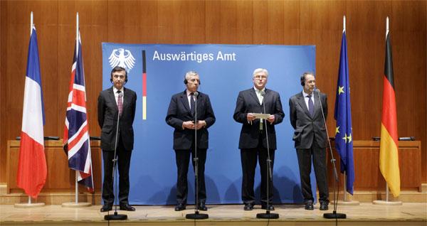 Министры иностранных дел Евротройки Филипп Дуст-Блази, Джек Стро, Франк-Вальтер Штайнмайер и примкнувший к ним Хавьер Солона. 2006 год. Все только начинается.