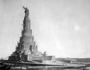 Проект Дворца Советов. Авторы не мелочились: предполагаемая высота сооружения — 420 м
