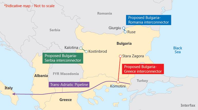 Расположение предполагаемых трубопроводов и трубопроводных перемычек на Балканах.