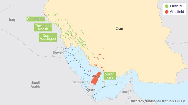 Расположение месторождений, для которых Иран подписал соглашения