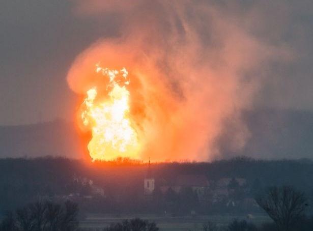 Взрыв на газовом хранилище в Баумгартене